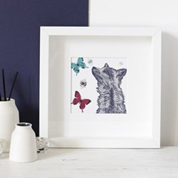 Fox With Bees & Butterflies Mounted print, 25.5 x 25.5cm, white frame