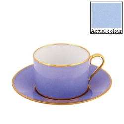 Sous le Soleil Breakfast cup and saucer straight sided, 25cl, Ice Blue With Classic Matt Gold Band
