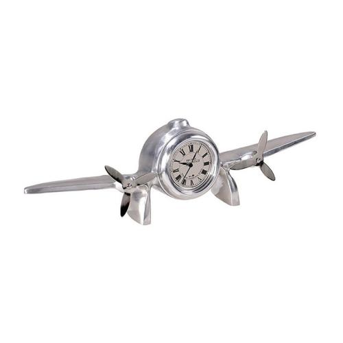 Flight Art deco clock, H10.5 x W7 x L35.5cm, Polished Aluminium