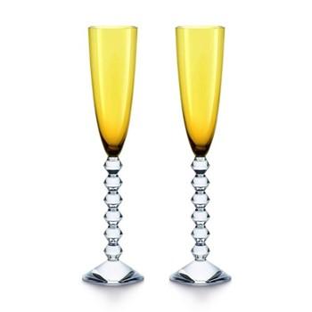 Vega Pair of flutissimo flutes, H29cm - 17cl, amber