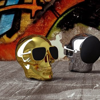 AeroSkull Nano Bluetooth speaker, H7.6 x W6 x D7.5cm, chrome gold