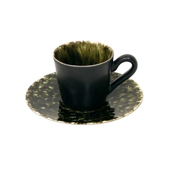 Riviera Forets Set of 6 coffee cups and saucers, 8cl, green