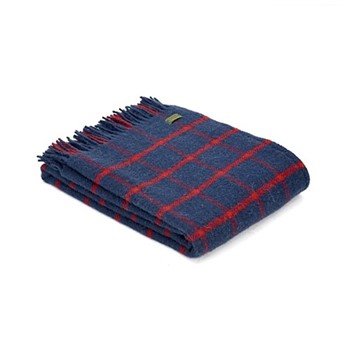 Chequered Check Throw, 150 x 183cm, navy/red