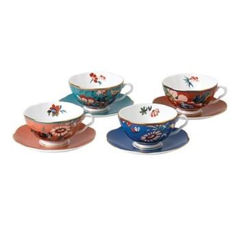 Paeonia Blush Set of 4 teacup & saucers, multi