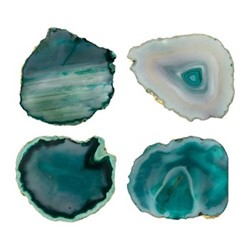 Agate Set of 4 coasters, D10cm, green