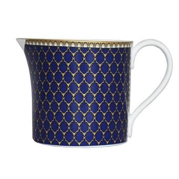 Antler Trellis Creamer jug, H7.3 x D7cm, midnight blue and gold