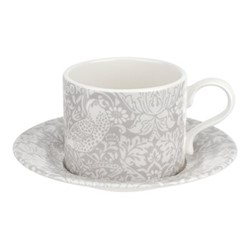 Pure Morris - Strawberry Thief Tea cup and saucer, 28cl, grey/white