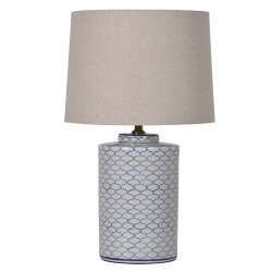 Crackle lamp with shade, 66cm, blue and white