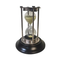 Silver Hourglass, H13.5 x D8cm, black Indian rosewood