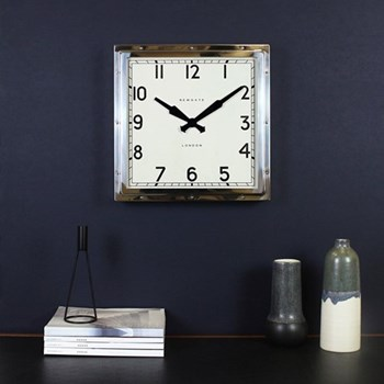 Quad Wall clock, 40 x 40 x 9cm, polished chrome steel