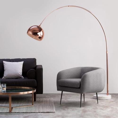 Bow Large floor lamp, H196 x W150 x D38cm, Copper/White