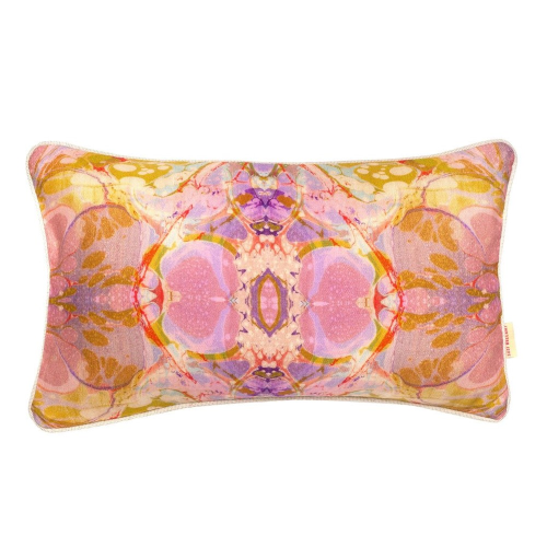 Tapestry kaleidoscope Rectangular linen cushion, L55 x W30cm, Purple
