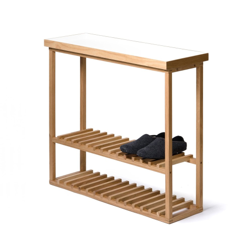 Hello Storage table, H74.4 x W81 x D28cm, White/Oak