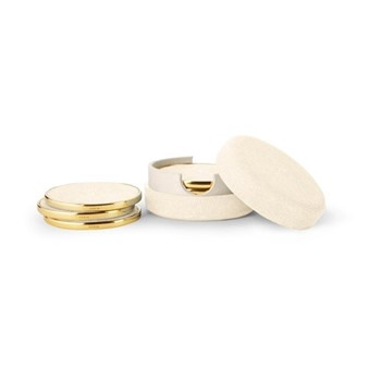 Shagreen Set of 4 coasters, L5 x W5 x H3cm, cream