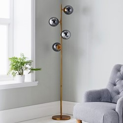 Four sphere floor lamp, L42 x W42 x D190cm, gold