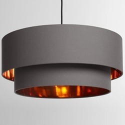 Oro Layered pendant shade, W50 x H25 x D50cm, grey and copper