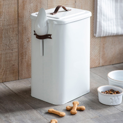 Pet bin and scoop, 24 x 32 x 45cm, Chalk With Leather Handle