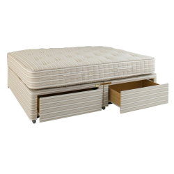 Double divan bed with drawers, L198 x W137 x H61cm, Natural