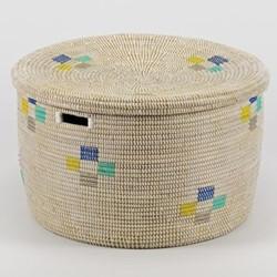 La Brise Small round storage basket, 20 x 32cm, morning