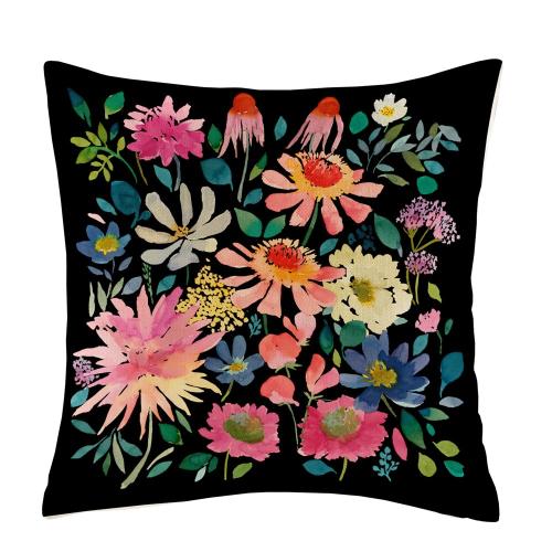 Zinnia Twilight Cushion, 50 x 50cm, Black