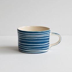 Sgrafitto Stripe Set of 6 mugs, H7 x W10.5cm, denim