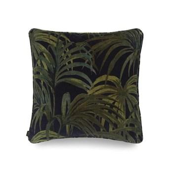 Palmeral Medium velvet cushion, 45 x 45cm, midnight/green