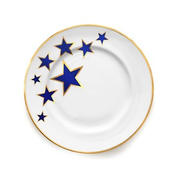 Lucky Stars Dinner plate, 27cm, crisp white & cobalt blue/burnished gold edge