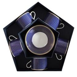 Antler Trellis Set of 5 teacups & saucers, midnight blue and gold