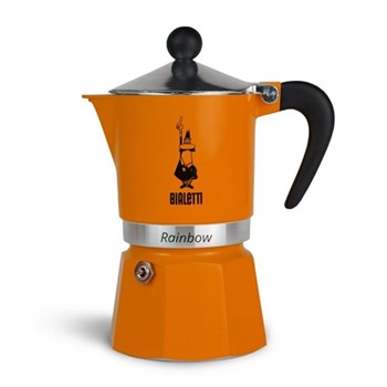 Rainbow Aluminium stovetop coffee maker (3 cup), orange