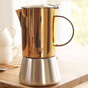 Origins 4 cup stovetop coffee maker, H16.5 x W7.5 x L13cm, copper