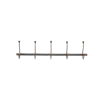 Rama Row of 5 hooks, 15 x 64 x 10.5cm, iron