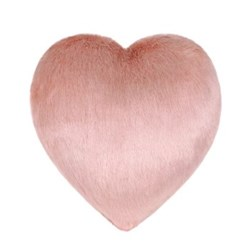 Boudoir Medium heart shaped faux fur cushion, L27 x H29cm, dusky