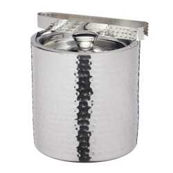 Ice bucket with lid and tongs, 1.5 litre, hammered metal