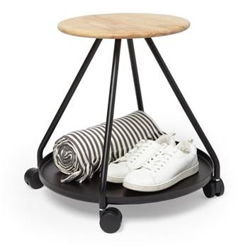 Hover Storage stool, 57 x 57 x 46cm, black/natural