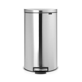 Silent Flatback pedal bin, 30 litre, matt steel fingerprint proof