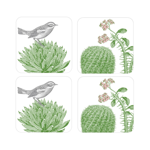 Cactus & Bird Set of 4 coasters, 10 x 10cm