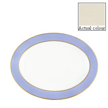Sous le Soleil Oval platter, 40cm, ivory with gold band