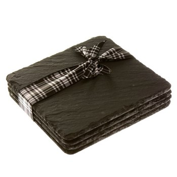 Set of 4 square coasters, 11cm, slate