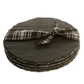 Set of 4 round coasters, D11cm, slate