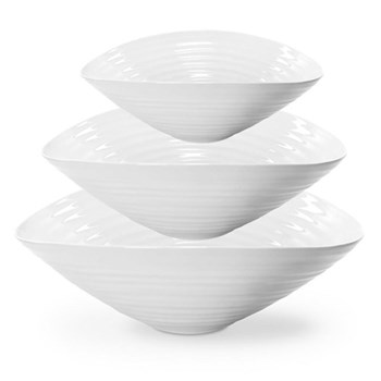Ceramics Set of 3 salad bowls, 33/28.5/24cm, white