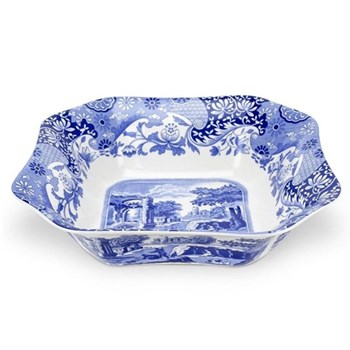 Blue Italian Square salad bowl, 23.5cm
