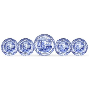 Blue Italian 5 piece bowl set boxed, 30cm and 23cm