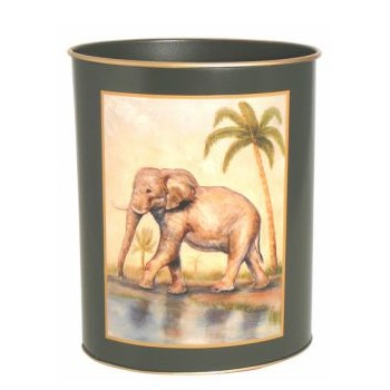 African Animals - Traditional Range Wastepaper bin, H28cm, bottle green - elephant