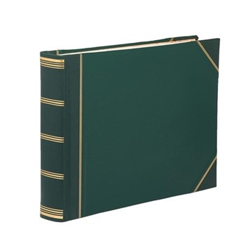 Classic Range Visitors book with plain pages, 22 x 28.5cm, green with gold corners