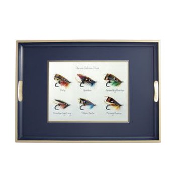 Classic Salmon Flies - Traditional Range Traditional tray, 55 x 39.5cm, Oxford blue