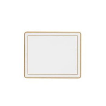 Screened Range Set of 6 coasters with frame line, 11 x 9cm, white