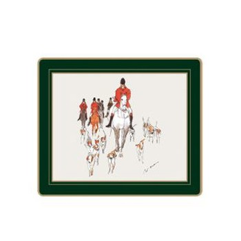 Hunting - Traditional Range Set of 6 tablemats with frame line, 24 x 20cm, bottle green