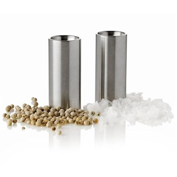 Arne Jacobsen Salt and pepper set, H6.3 x D2cm, satin stainless steel