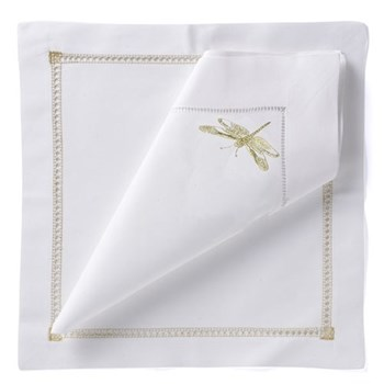 Dragonfly Set of 4 napkins, 54 x 54cm, gold