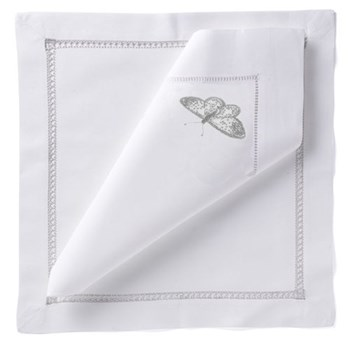Butterfly Set of 4 napkins, 54 x 54cm, silver